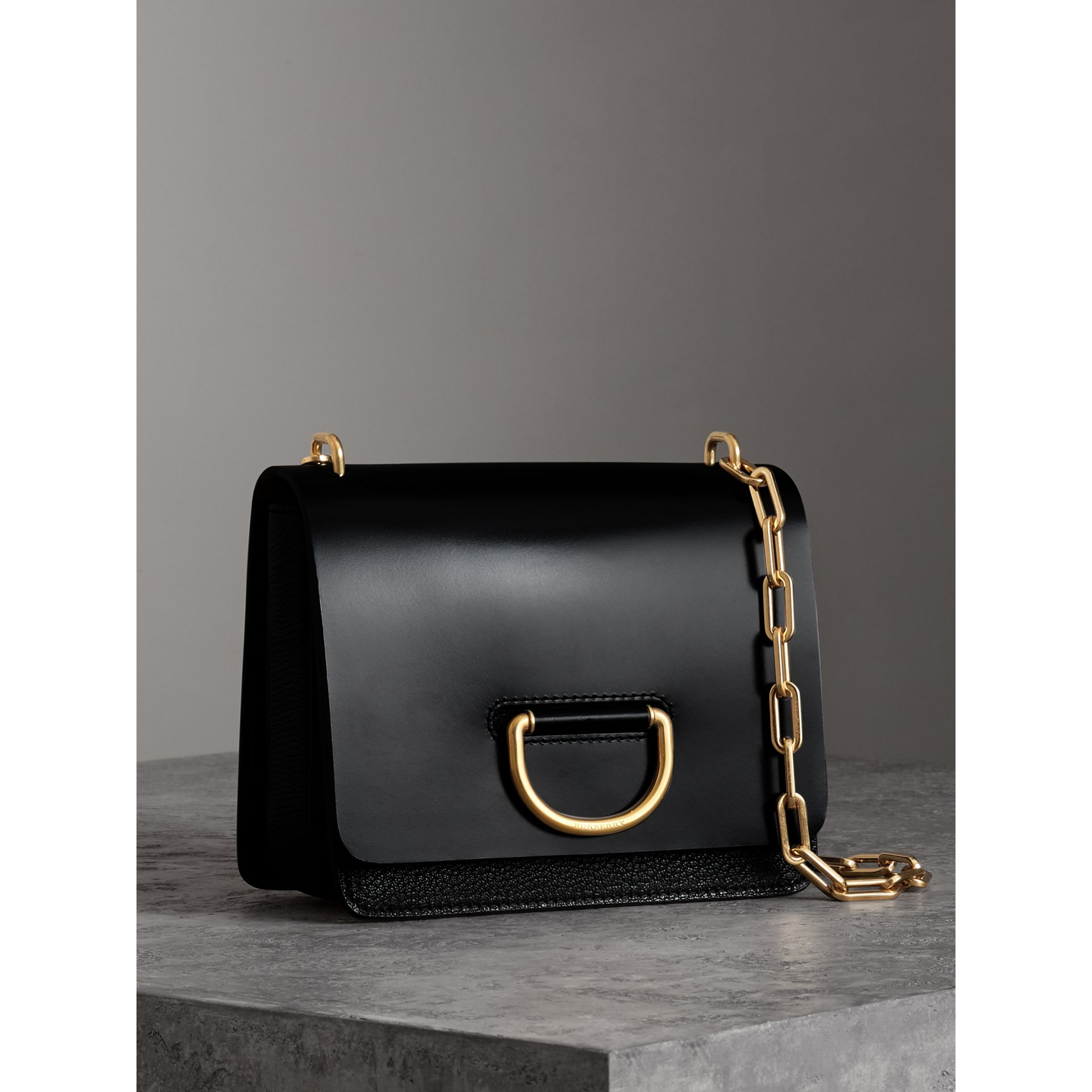 The Small Leather D-ring Bag in Black - Women | Burberry - gallery image 4