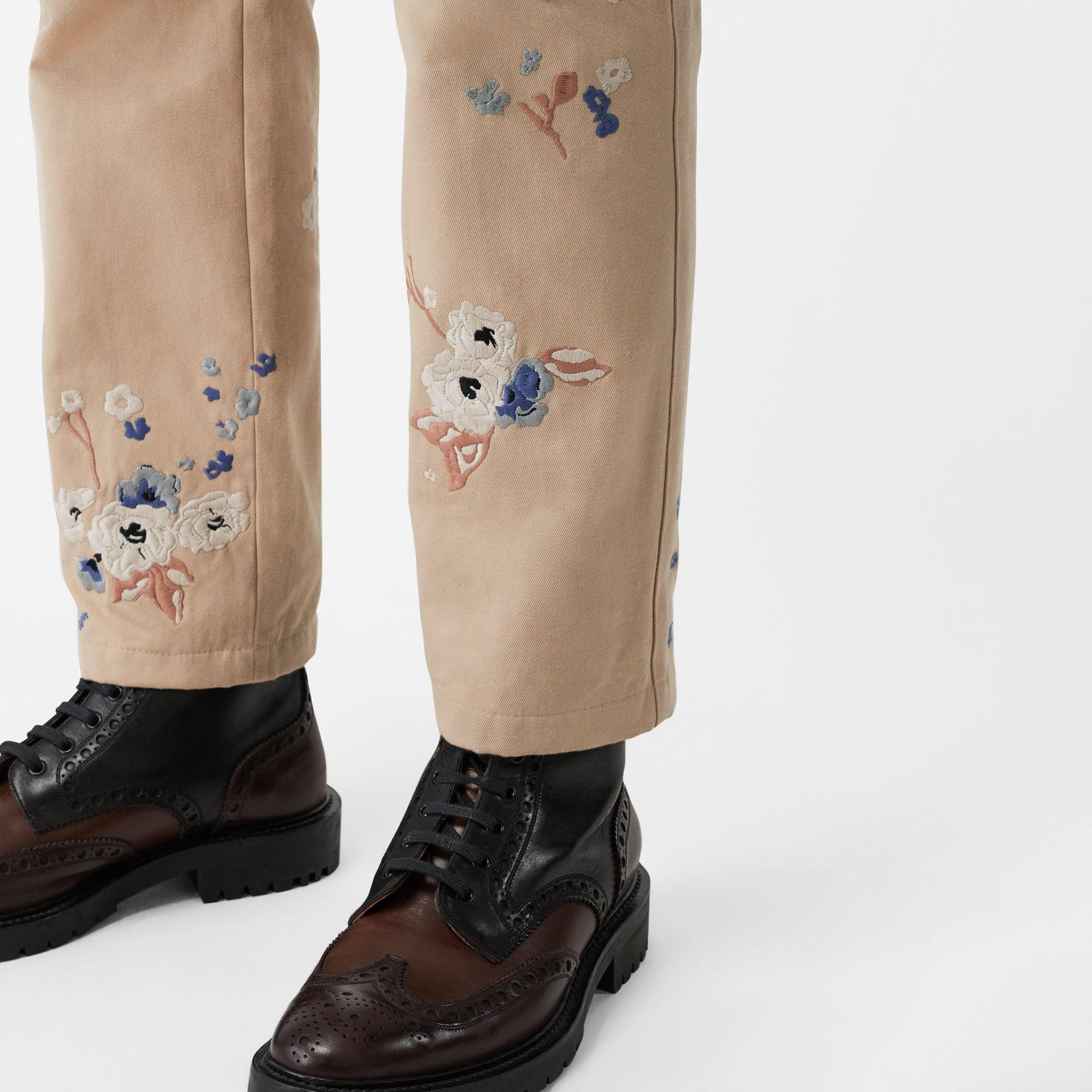 Slim Fit Floral Embroidered Cotton Chinos in Stone - Men | Burberry - gallery image 1