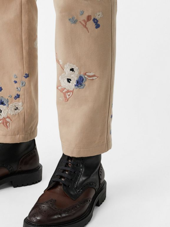 Slim Fit Floral Embroidered Cotton Chinos in Stone - Men | Burberry - cell image 1