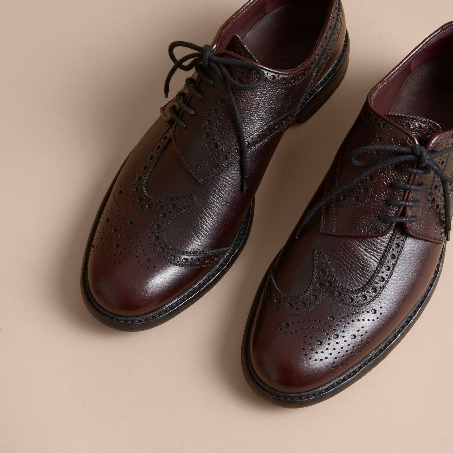 Leather Brogues with Asymmetric Closure in Burgundy - Men | Burberry - gallery image 4