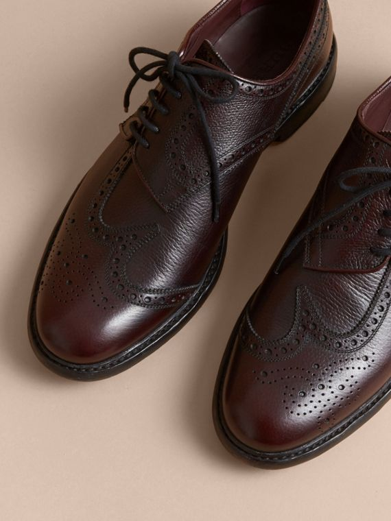 Leather Brogues with Asymmetric Closure in Burgundy - Men | Burberry - cell image 3