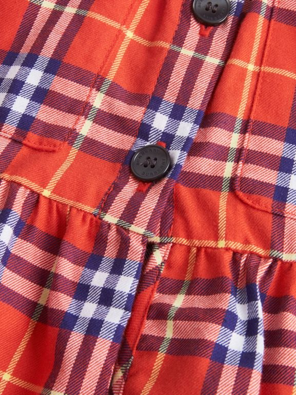Check Cotton Flannel Dress in Orange Red | Burberry - cell image 1