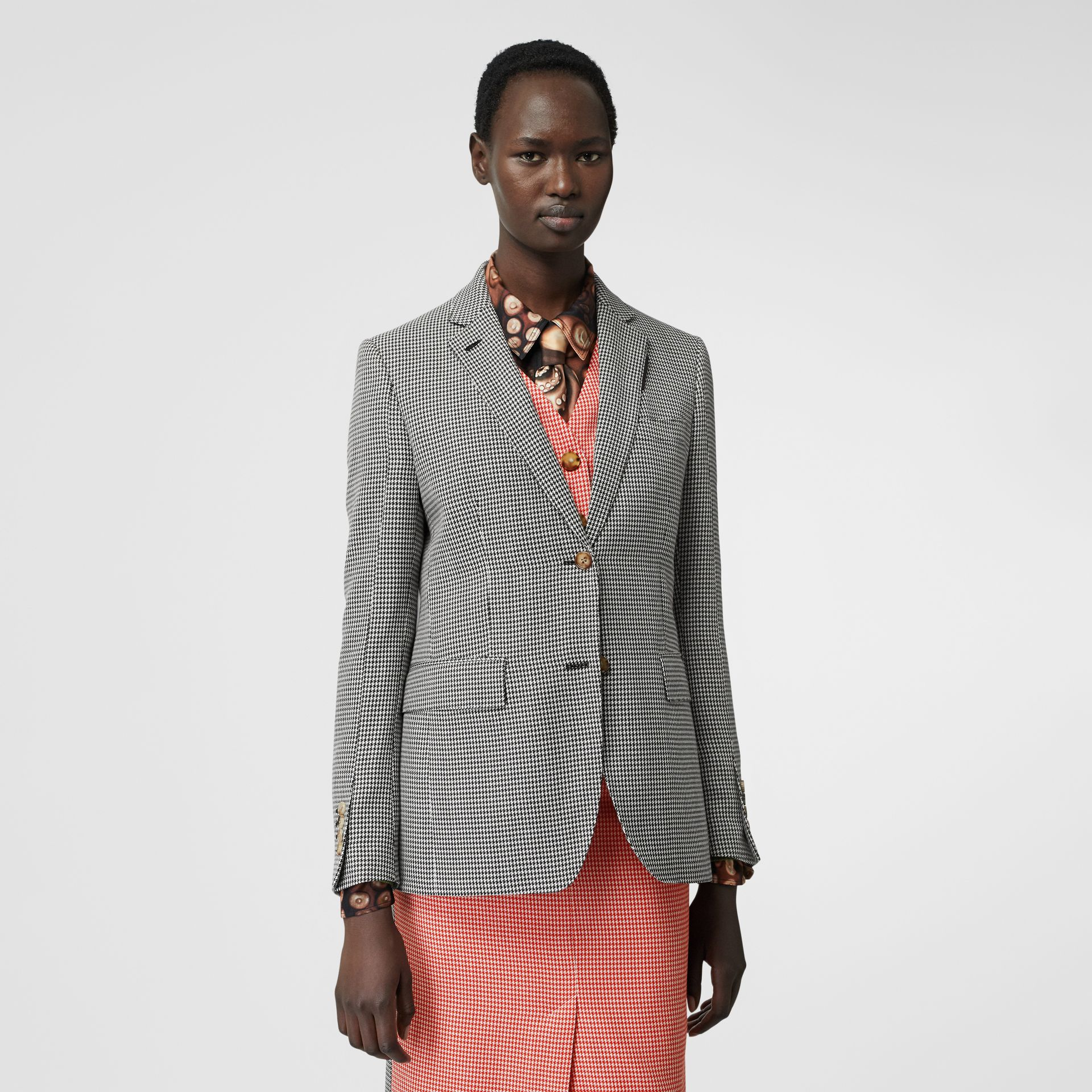 Waistcoat Detail Houndstooth Check Wool Blazer in Bright Red - Women | Burberry - gallery image 5