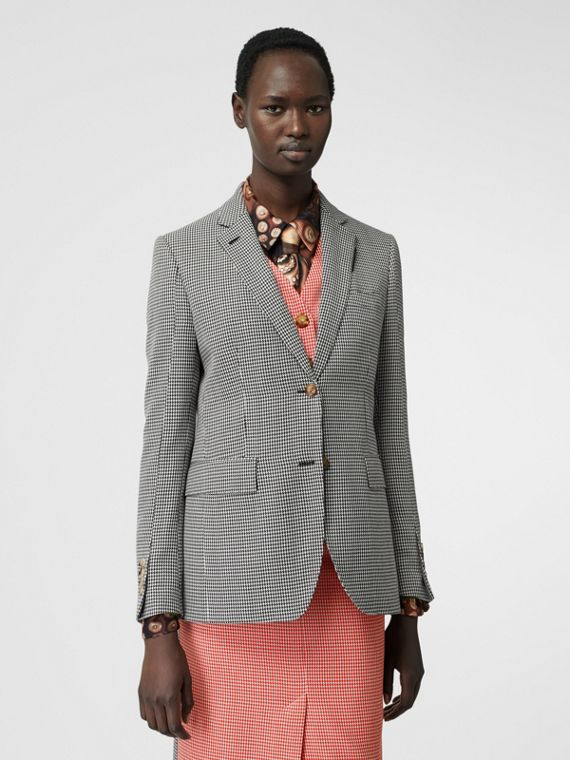 Waistcoat Detail Houndstooth Check Wool Blazer in Bright Red