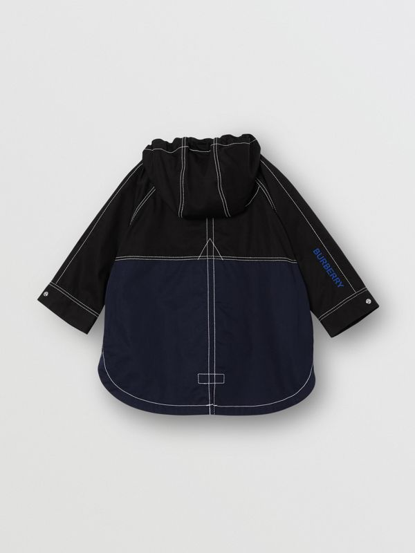 Topstitched Cotton Hooded Jacket in Black - Children | Burberry - cell image 3