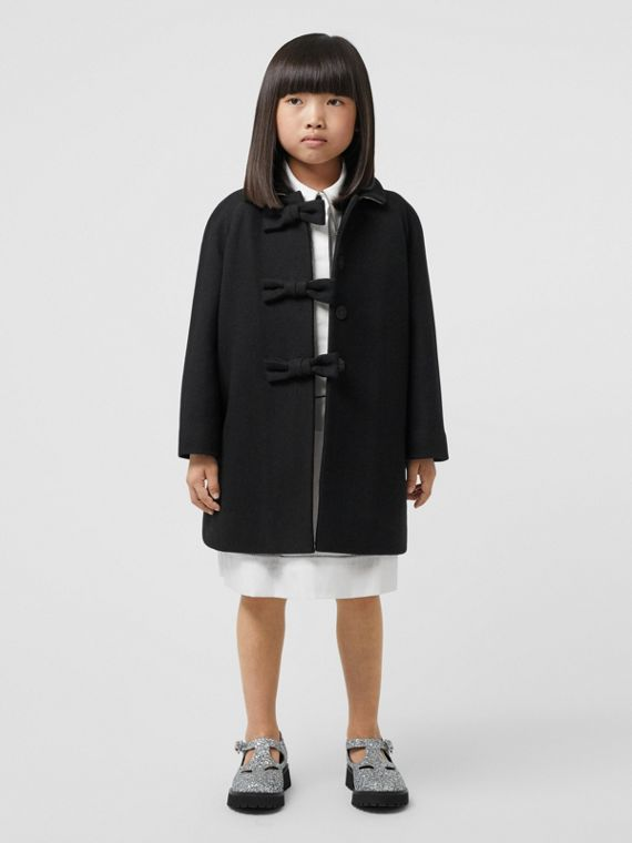 Embellished Melton Wool Swing Coat in Black