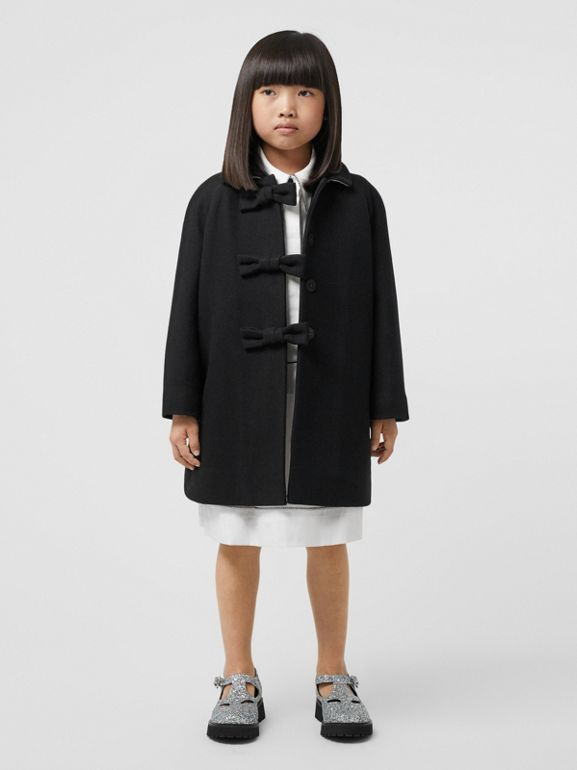 Embellished Melton Wool Swing Coat in Black | Burberry United Kingdom - cell image 1