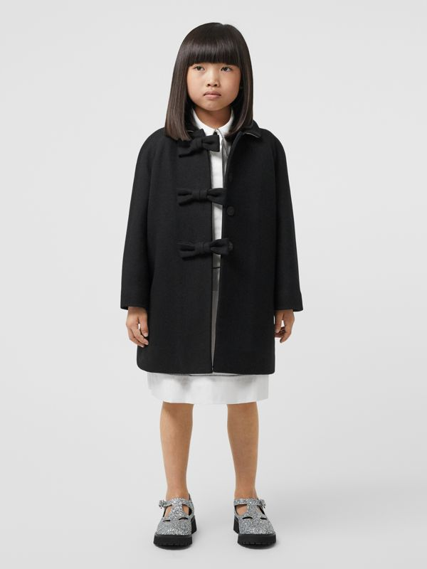 Embellished Melton Wool Swing Coat in Black | Burberry United States - cell image 2