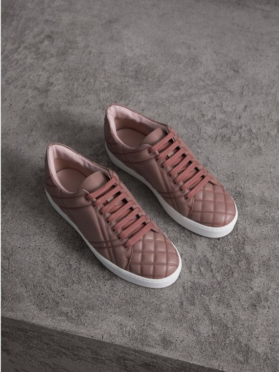 Check-quilted Leather Trainers in Ivory Pink