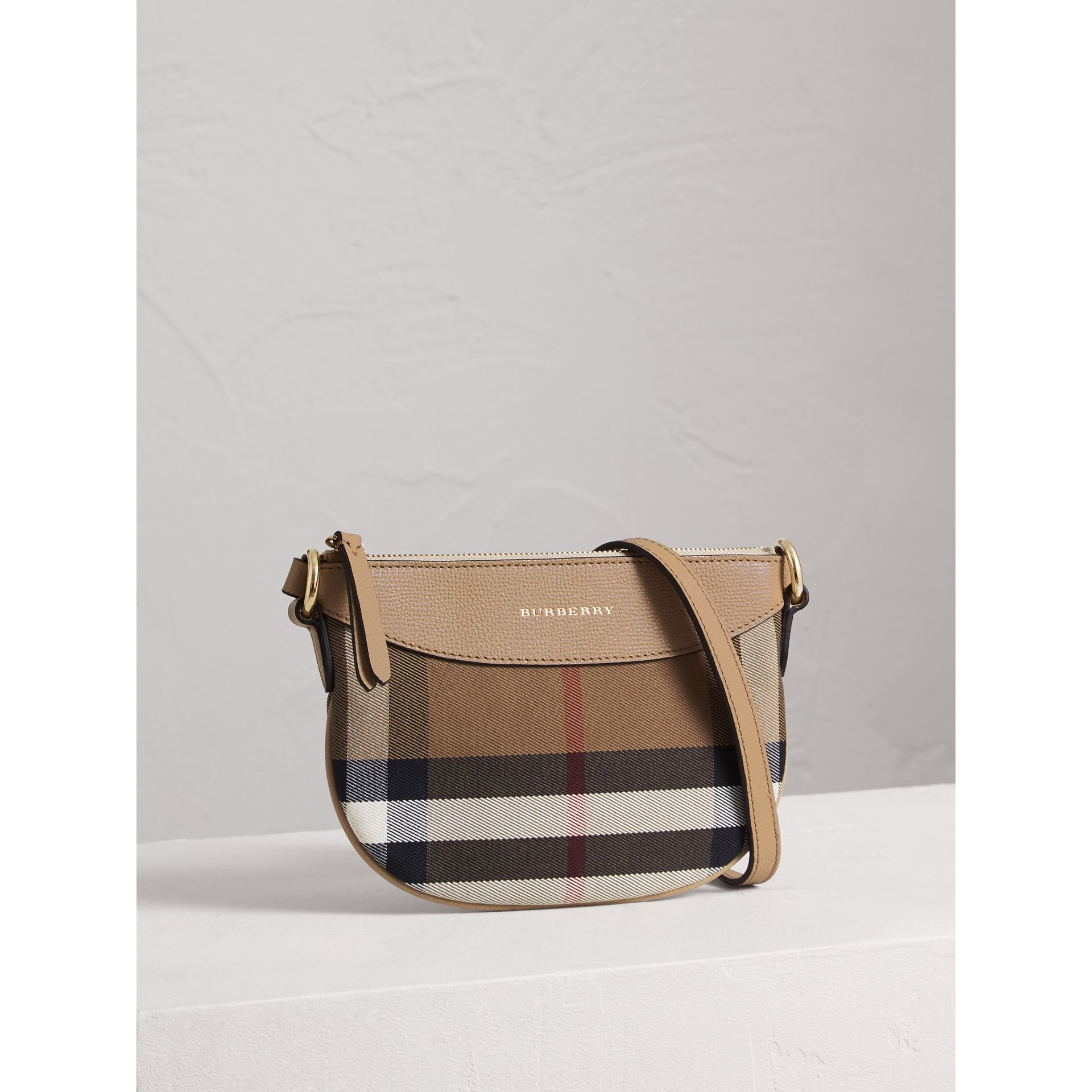 House Check and Leather Crossbody Bag in Chino - Girl | Burberry United Kingdom - gallery image 4