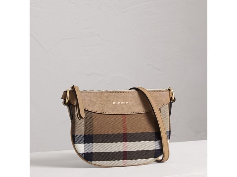 House Check and Leather Crossbody Bag in Chino - Girl | Burberry - cell image 4