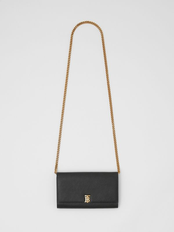 Monogram Motif Leather Wallet with Detachable Strap in Black - Women | Burberry United Kingdom - cell image 3