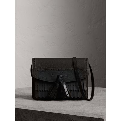 Brogue and Fringe Detail Leather Crossbody Bag in Black