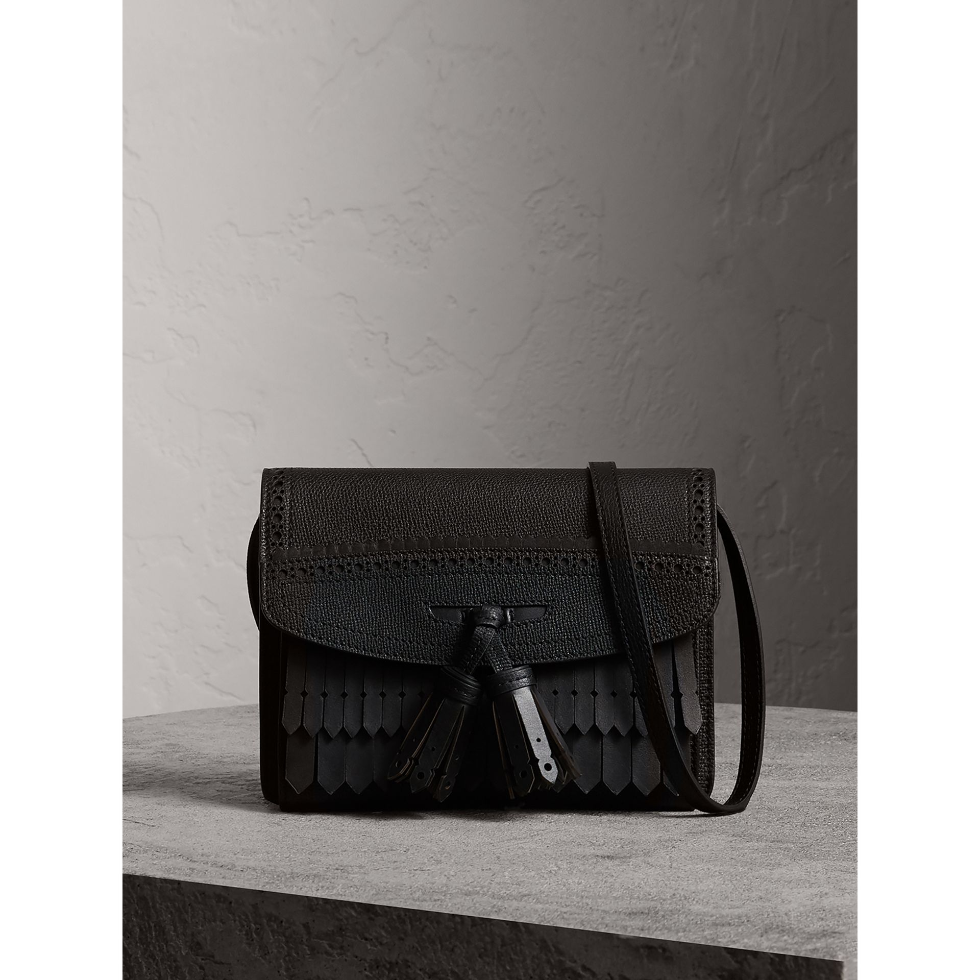 Brogue and Fringe Detail Leather Crossbody Bag in Black - Women | Burberry - gallery image 0