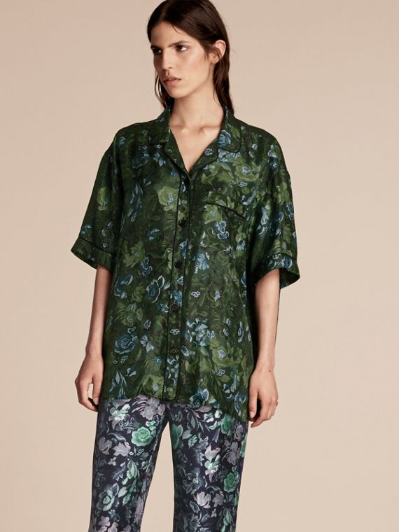Short-sleeved Floral Print Silk Pyjama-style Shirt Forest Green