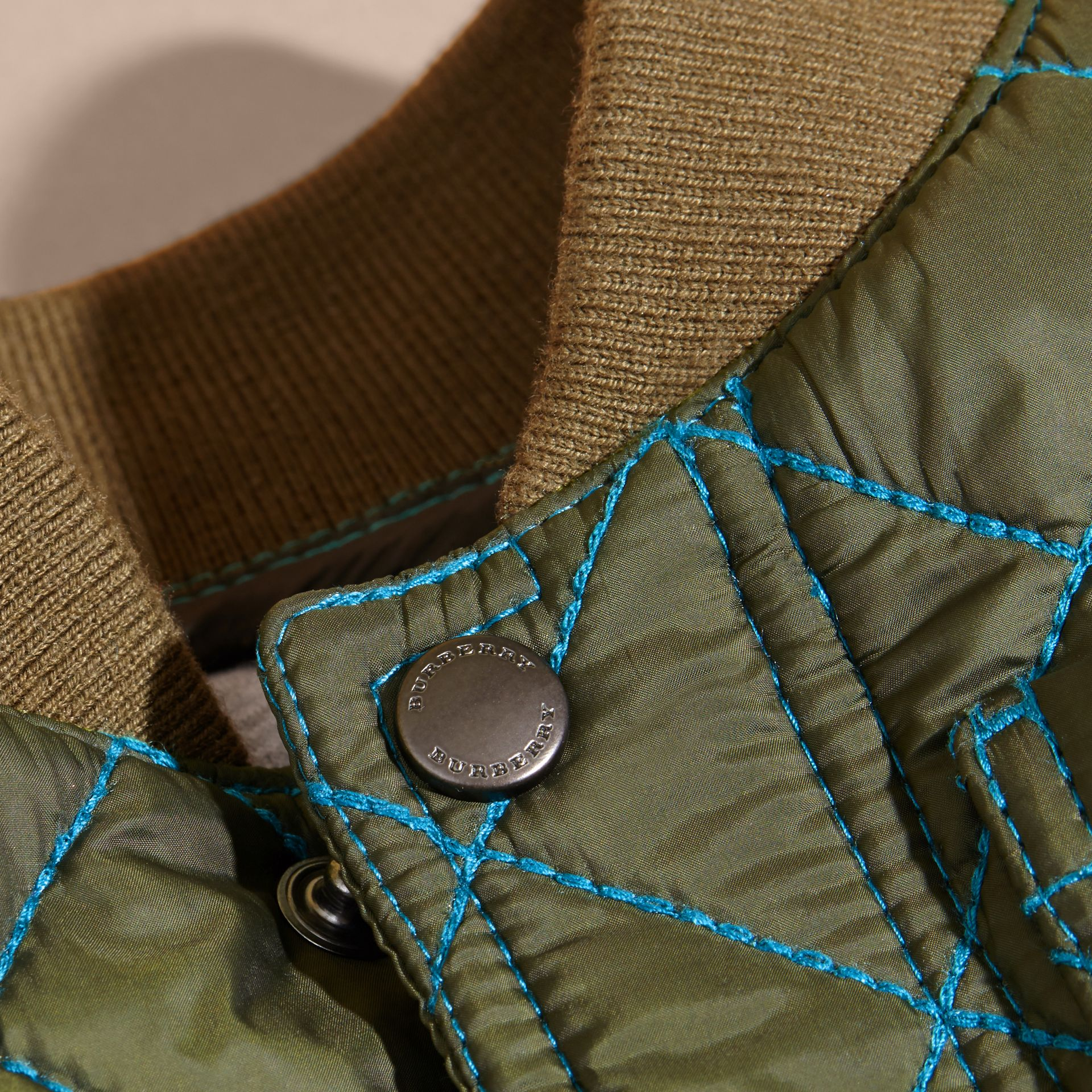Olive green Contrast Topstitch Diamond Quilted Technical Jacket - gallery image 2