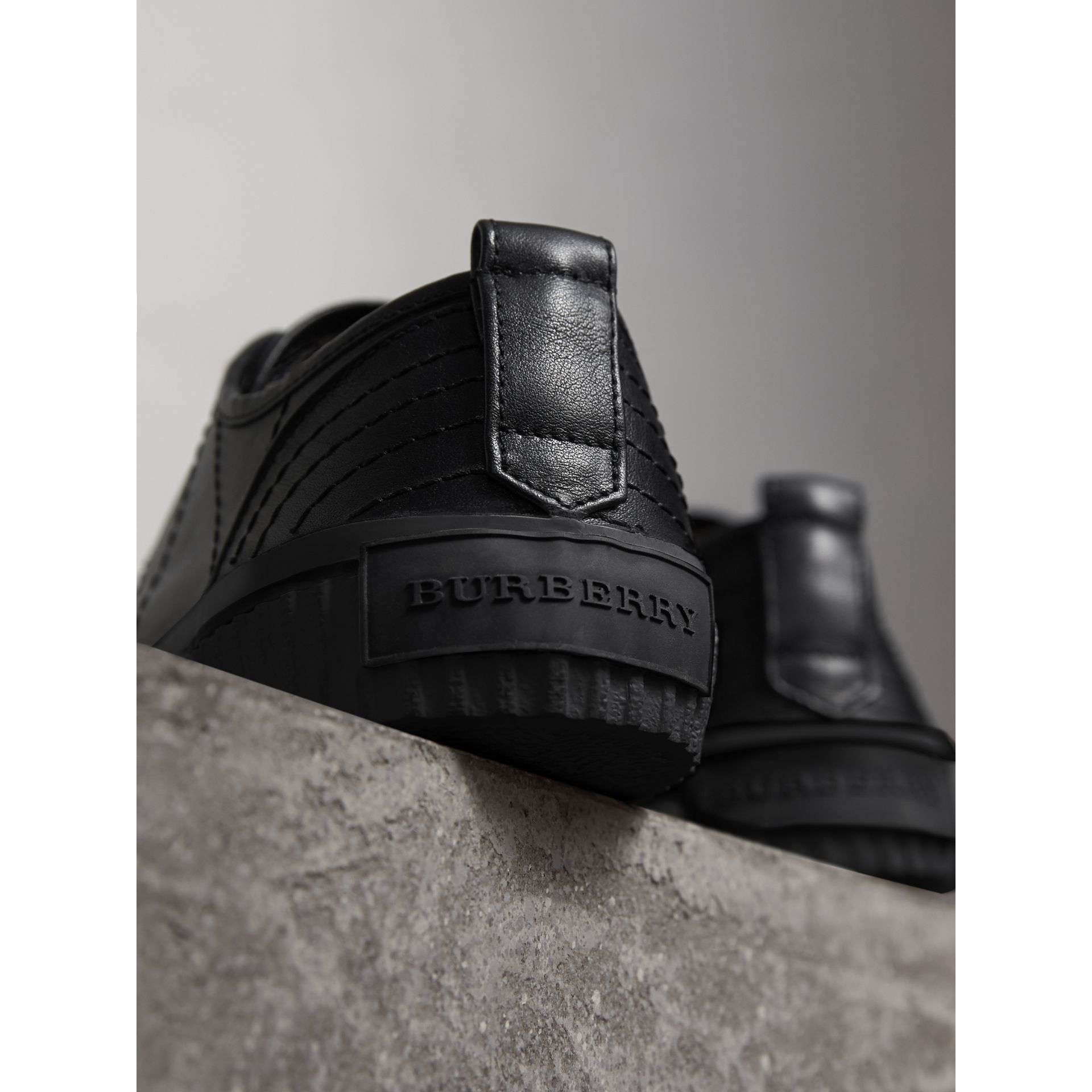 Topstitched Leather Trainers in Black - Men | Burberry - gallery image 4
