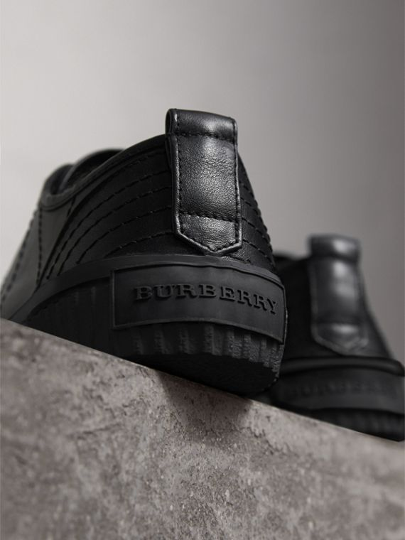 Topstitched Leather Trainers in Black - Men | Burberry - cell image 3