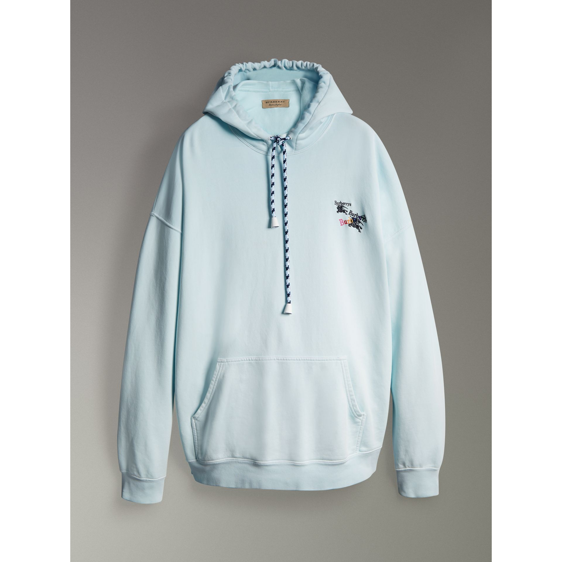 Equestrian Logo Embroidery Cotton Oversized Hoodie in Pearl Blue - Men | Burberry - gallery image 3