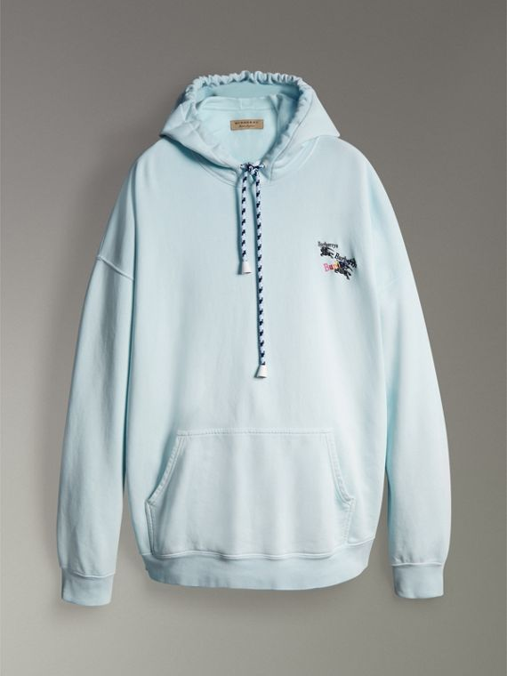 Equestrian Logo Embroidery Cotton Oversized Hoodie in Pearl Blue - Men | Burberry - cell image 3