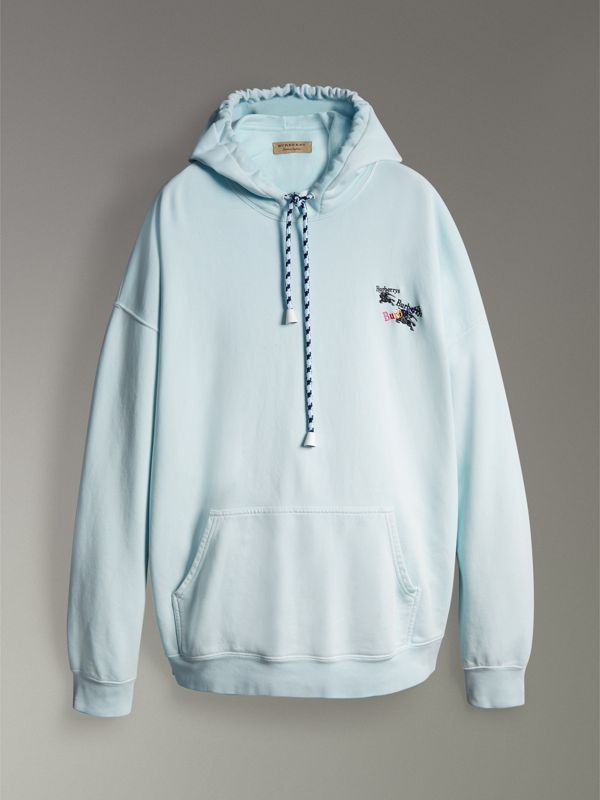 Equestrian Logo Embroidery Cotton Oversized Hoodie in Pearl Blue - Men | Burberry United Kingdom - cell image 3