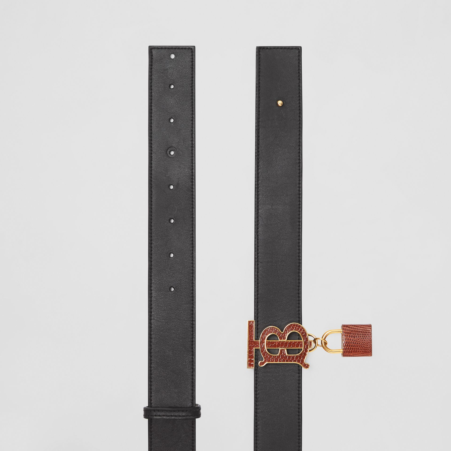 Padlock Detail Monogram Motif Leather Belt in Black/tan - Women | Burberry Australia - gallery image 5