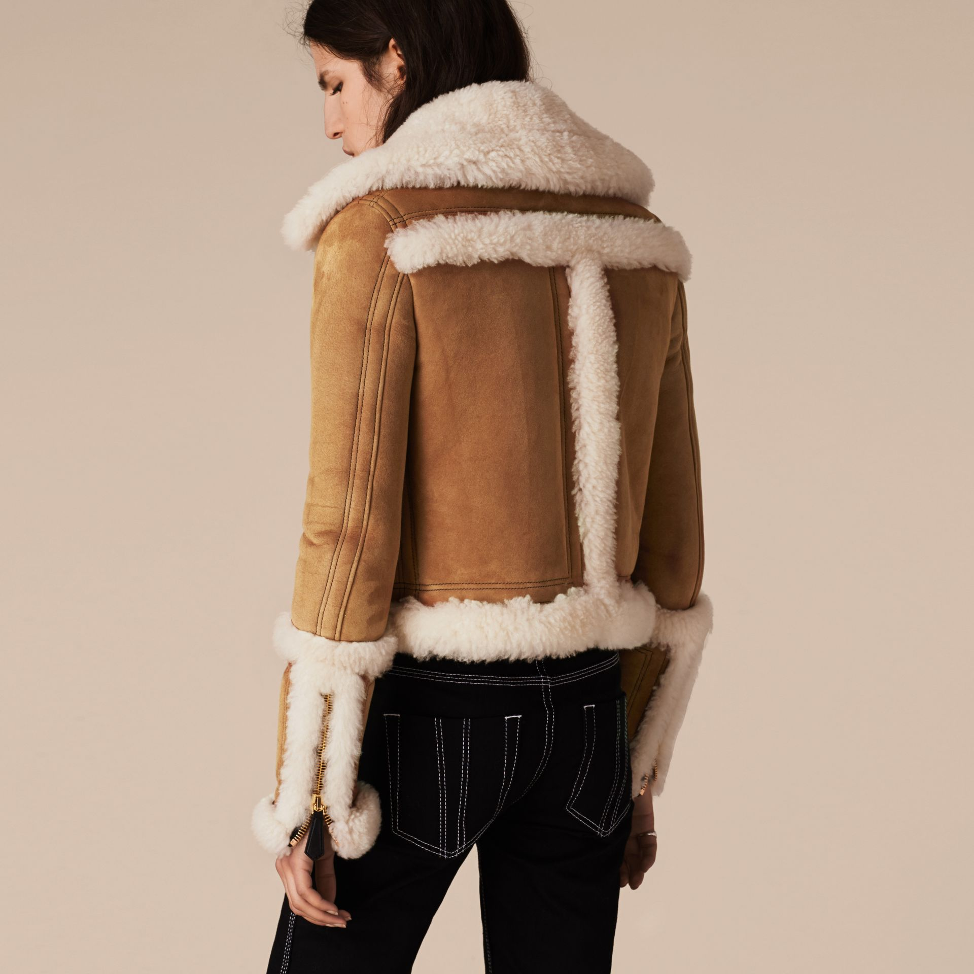 Tan/white Shearling Biker Jacket - gallery image 3