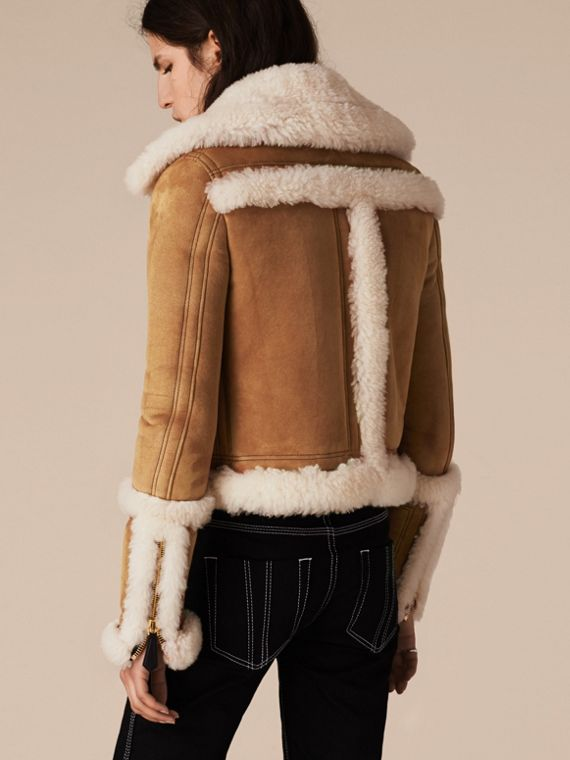 Tan/white Shearling Biker Jacket - cell image 2
