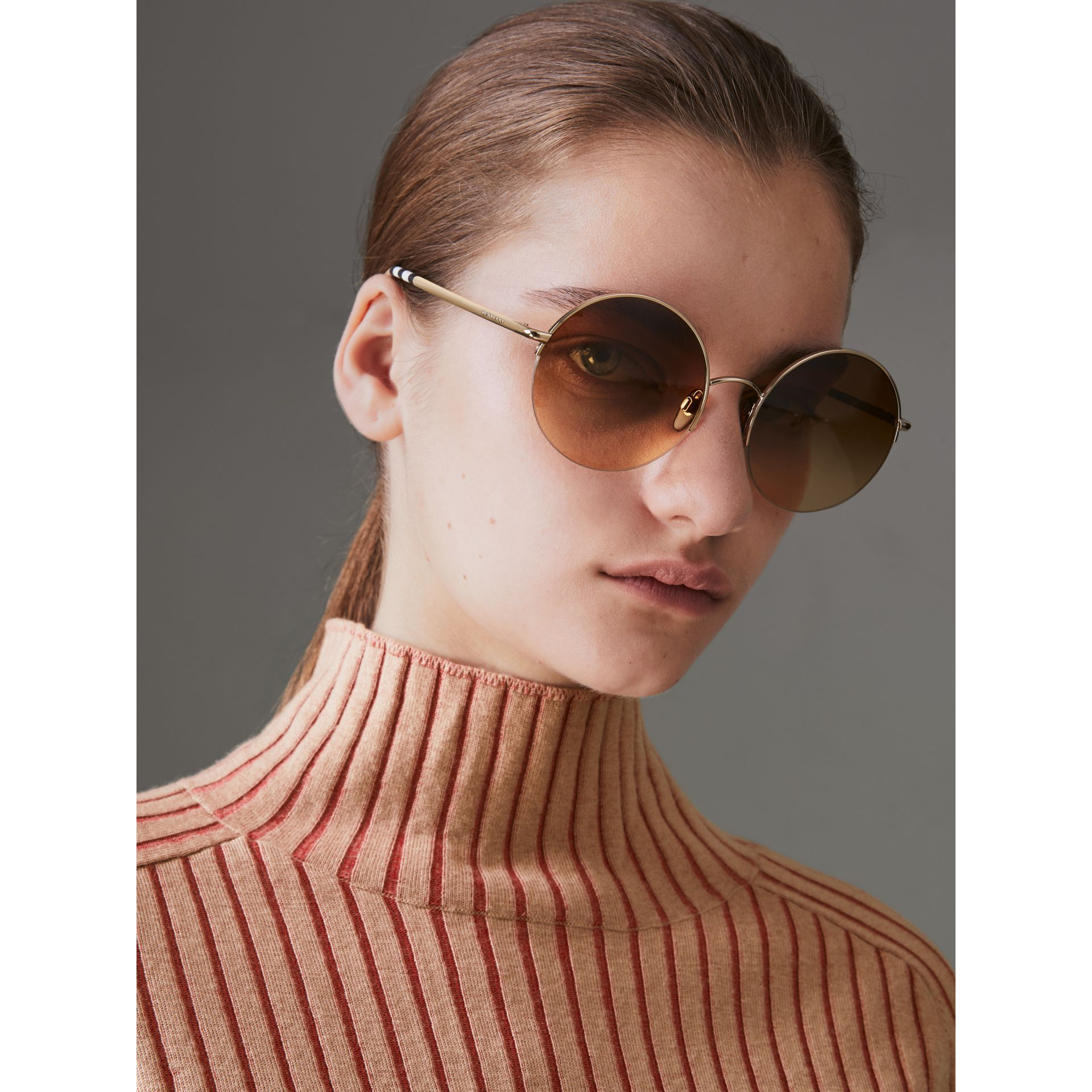 Check Detail Round Frame Sunglasses in Gold - Women | Burberry Singapore - gallery image 2
