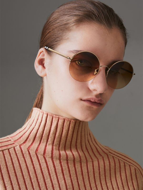 Check Detail Round Frame Sunglasses in Gold - Women | Burberry United States - cell image 2