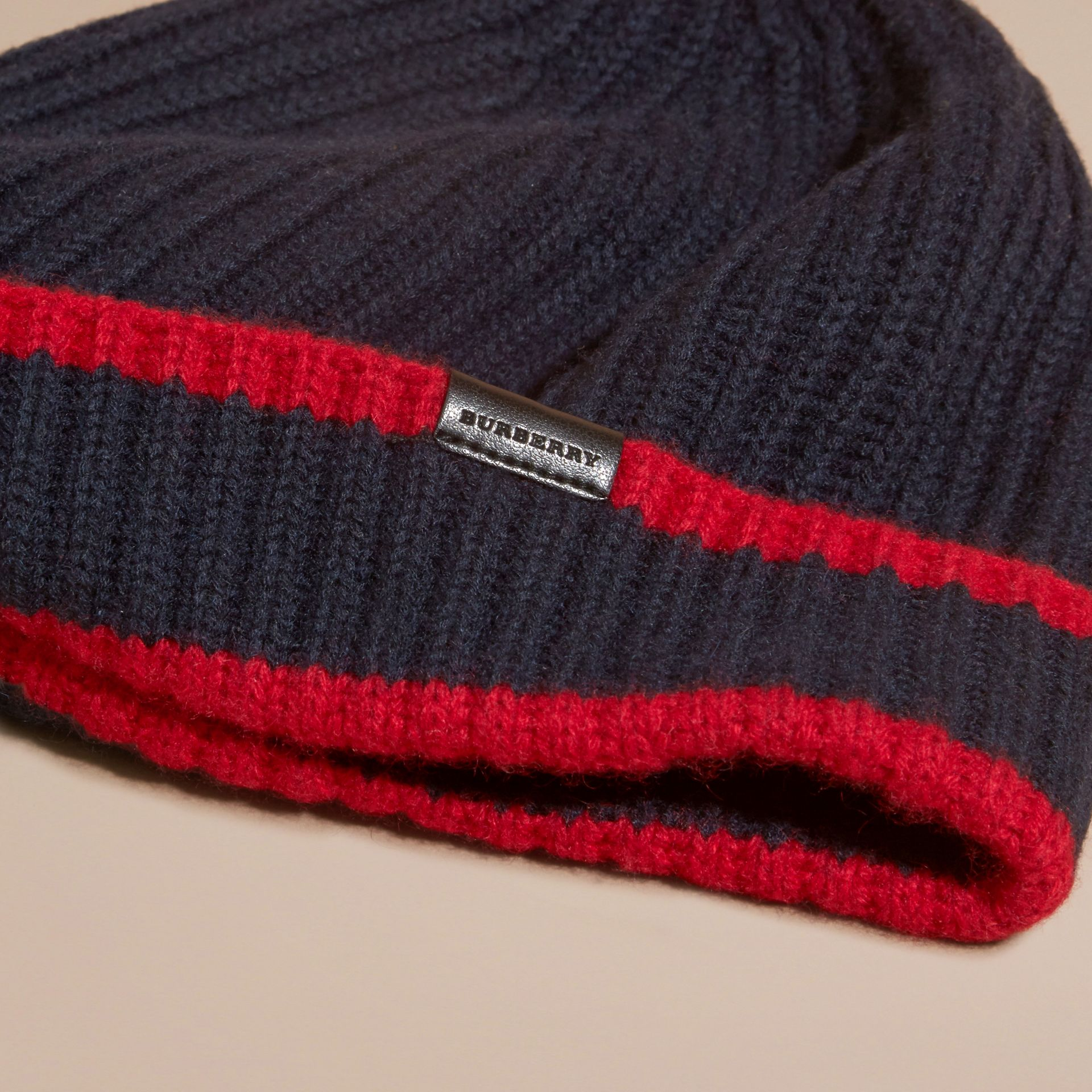 Navy/parade red Ribbed Cashmere Tipped Beanie - gallery image 3