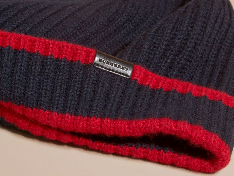 Navy/parade red Ribbed Cashmere Tipped Beanie - cell image 2