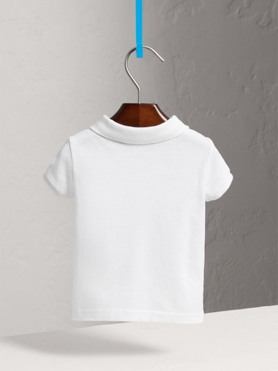 Cotton Piqué Polo Shirt in White | Burberry - cell image 3