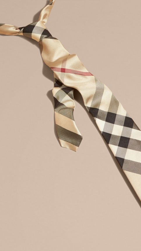 New classic check Modern Cut Check Silk Tie - Image 1