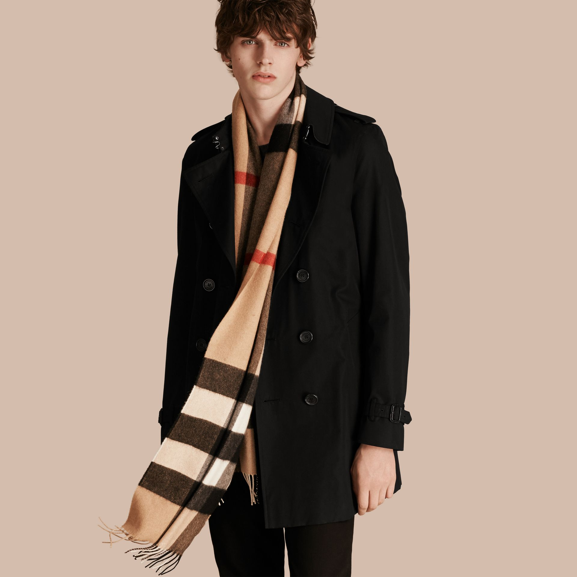 The Large Classic Cashmere Scarf in Check in Camel - gallery image 4