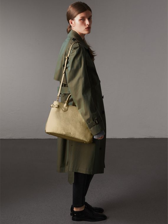 The Medium Banner in Leather and House Check in Gold - Women | Burberry United States - cell image 2