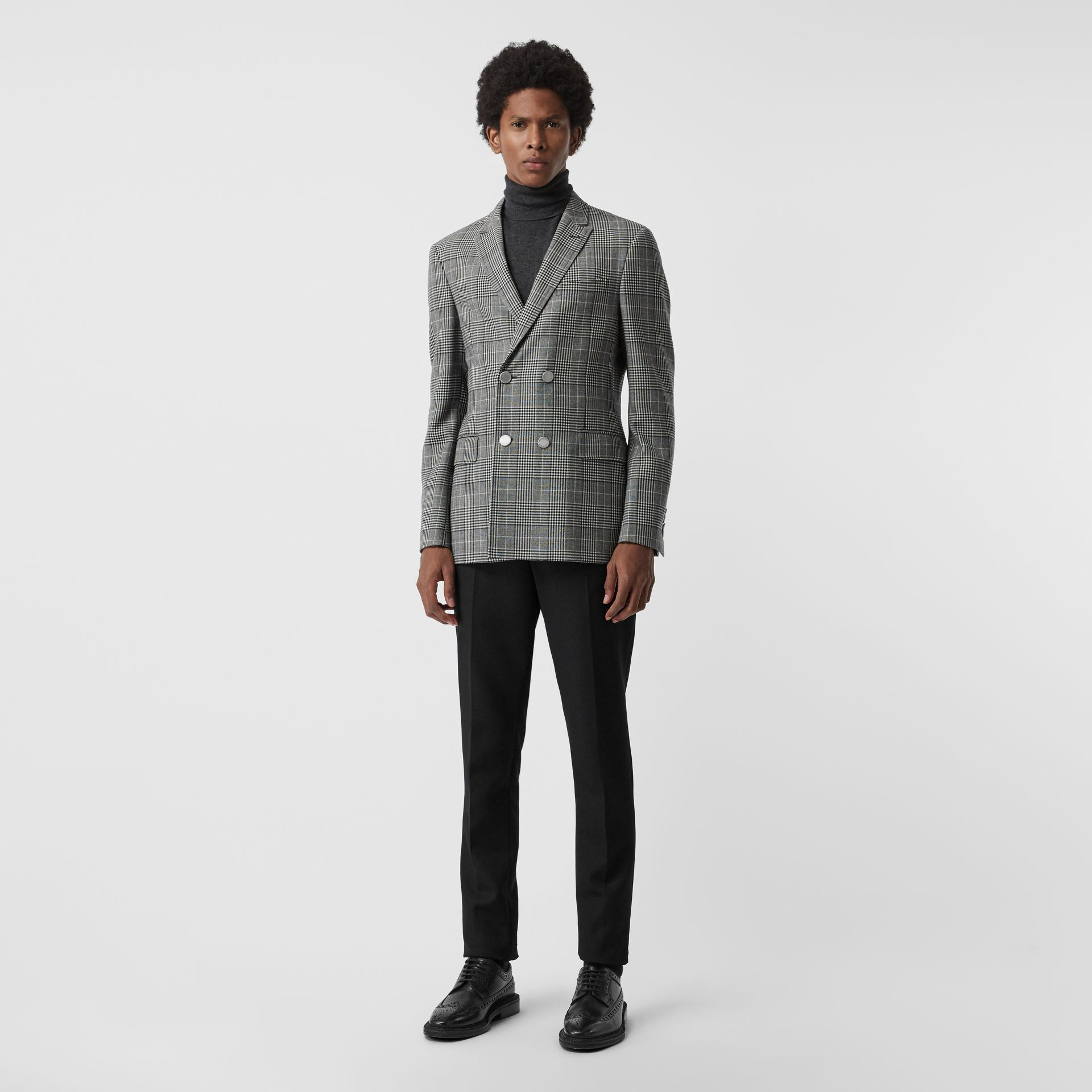 Slim Fit Check Wool Double-breasted Jacket in Black - Men | Burberry - gallery image 0