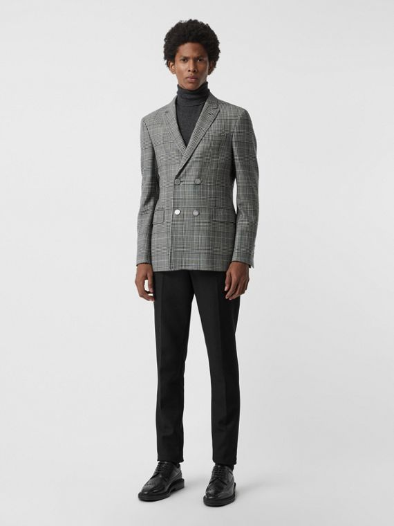 Slim Fit Check Wool Double-breasted Jacket in Black