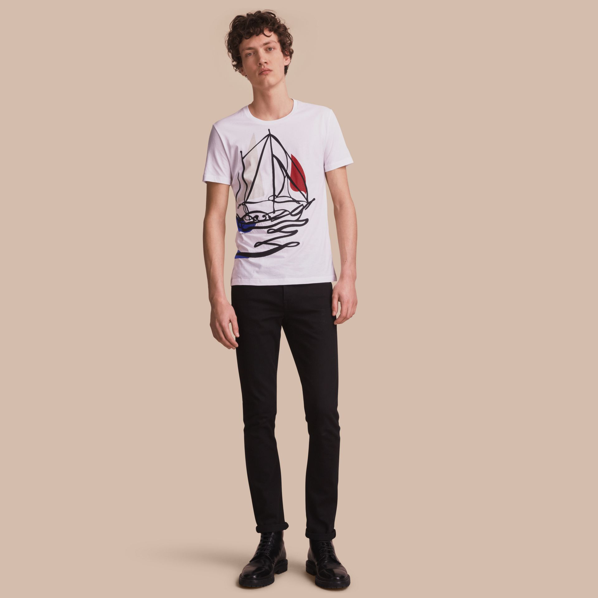 Sailboat Motif Cotton T-shirt - gallery image 1