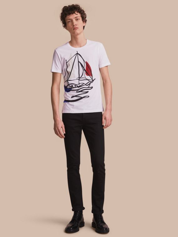 Sailboat Motif Cotton T-shirt