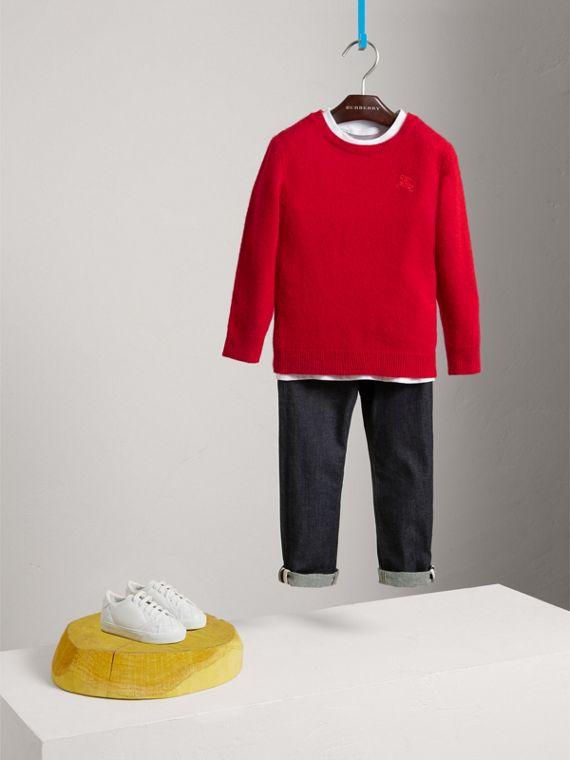 Check Elbow Patch Cashmere Sweater in Parade Red - Boy | Burberry United States - cell image 2