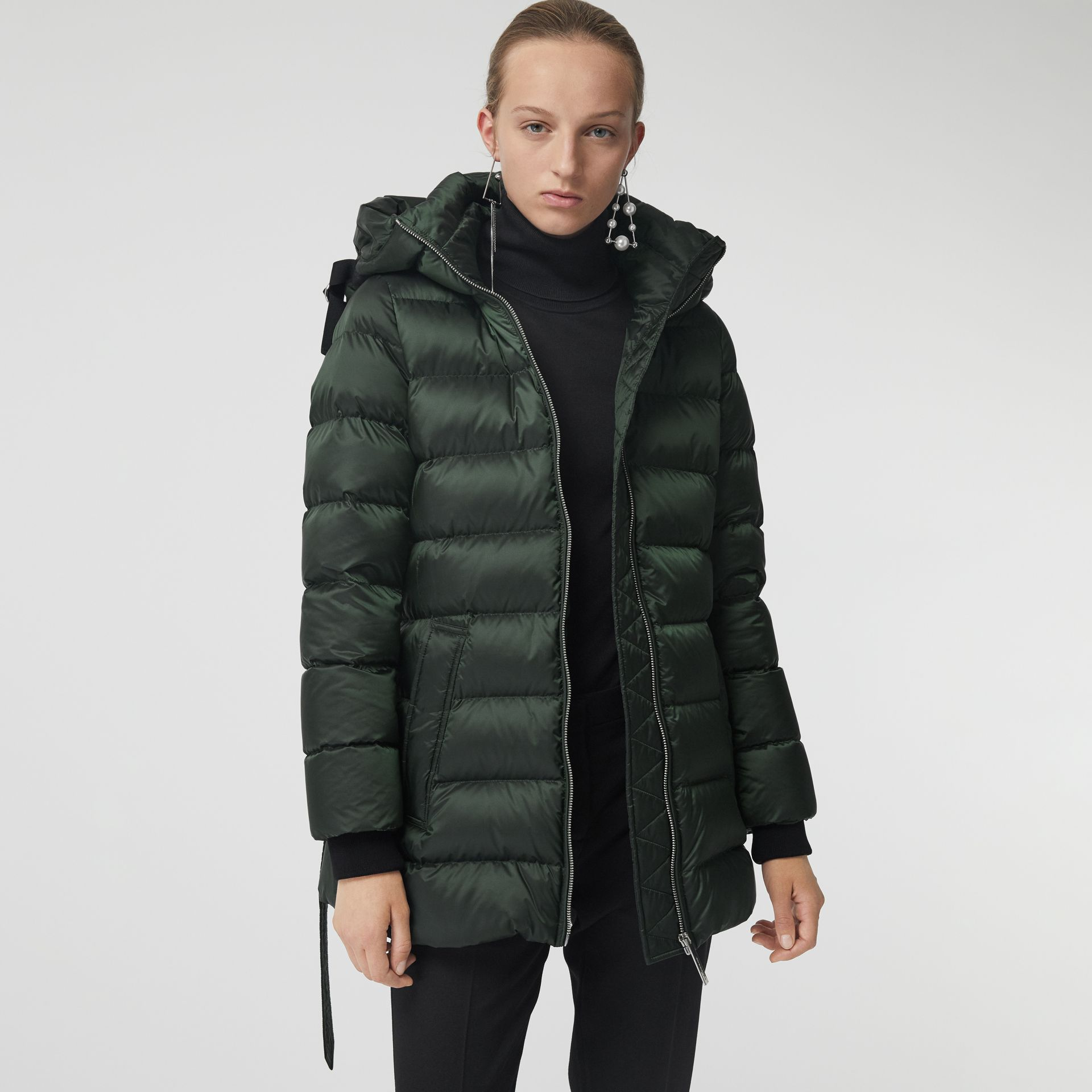 Down-filled Hooded Puffer Coat in Dark Racing Green - Women | Burberry United Kingdom - gallery image 5