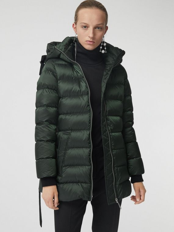 Down-filled Hooded Puffer Coat in Dark Racing Green