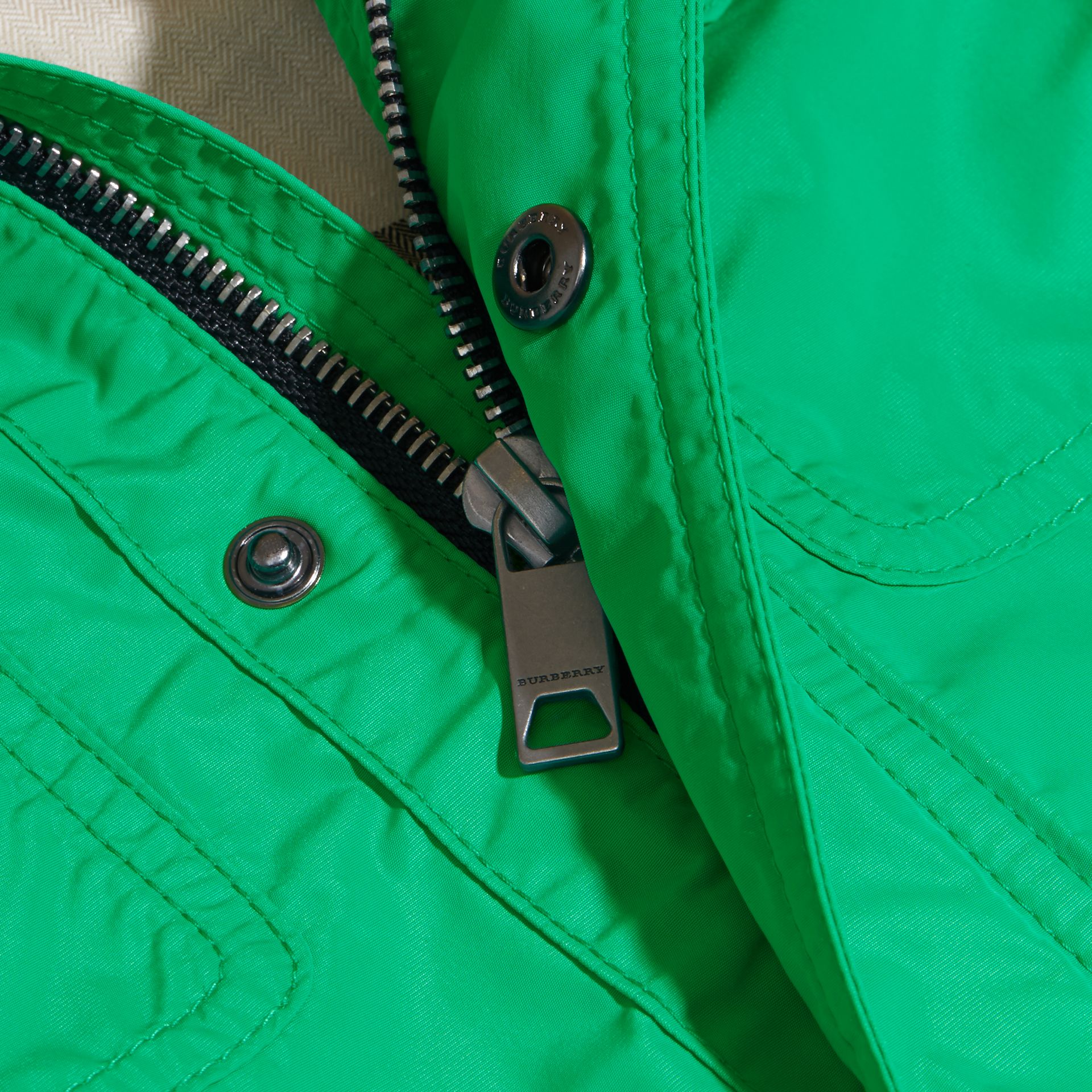 Hooded Field Jacket in Bright Green | Burberry - gallery image 2