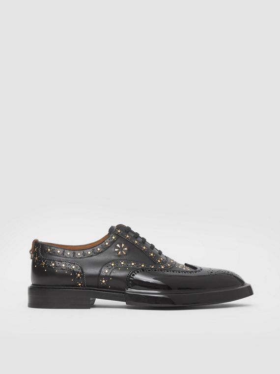 Toe Cap Detail Studded Leather Oxford Brogues in Black