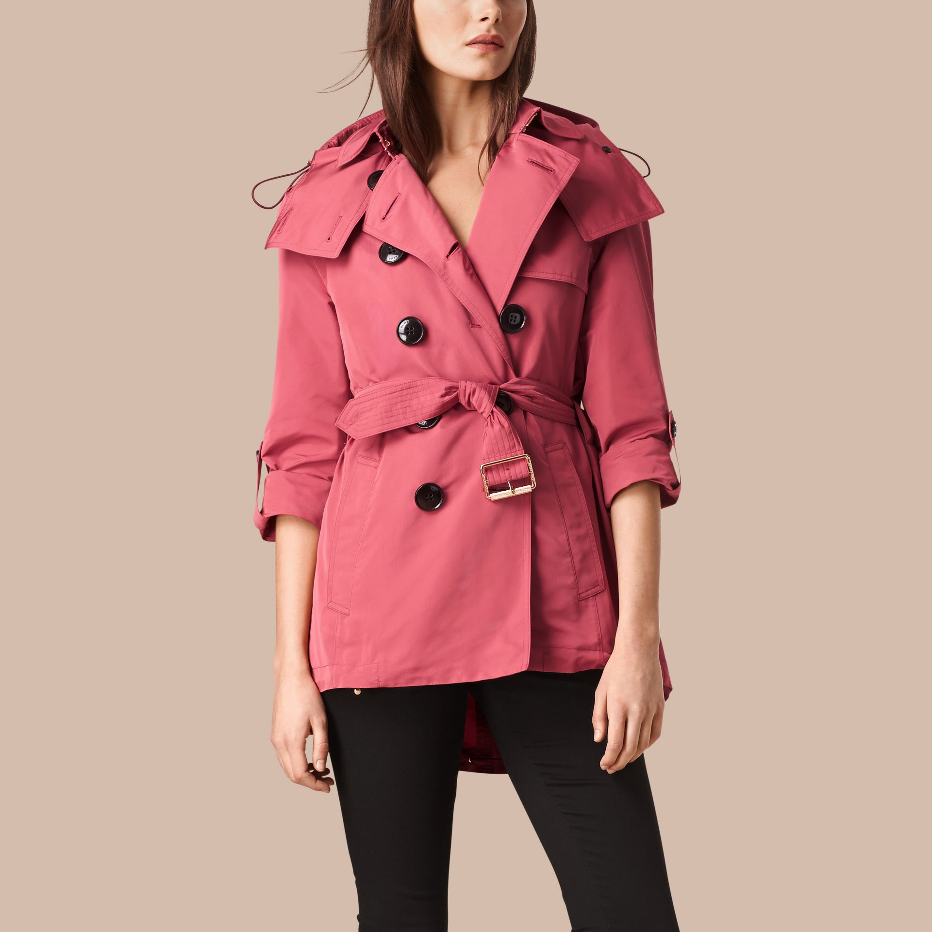 Bright copper pink Showerproof Trench Coat with Detachable Hood Bright Copper Pink - gallery image 5