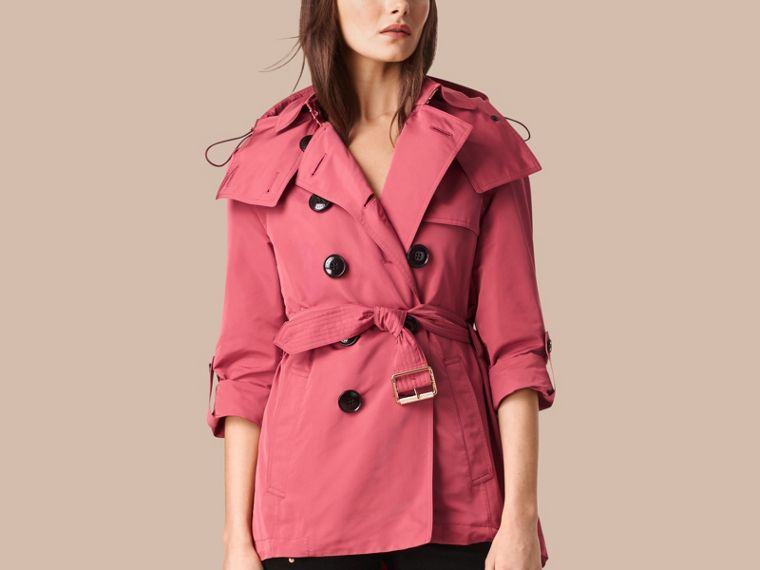 Bright copper pink Showerproof Trench Coat with Detachable Hood Bright Copper Pink - cell image 4