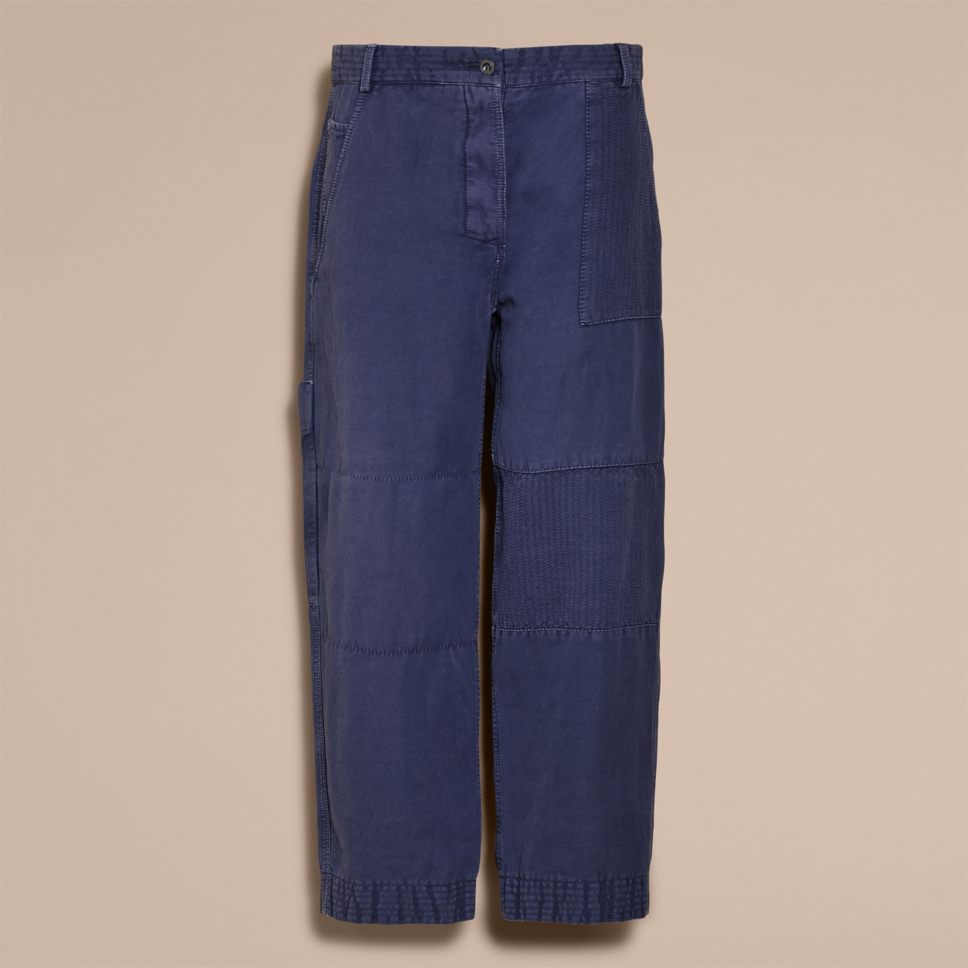 Ramie Cotton Cropped Workwear Trousers in Indigo - Women | Burberry - gallery image 4