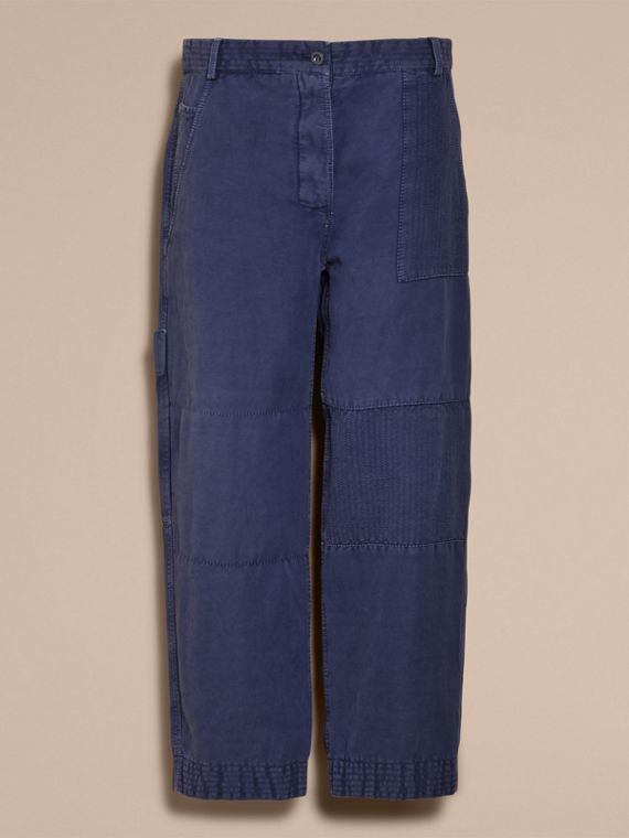 Ramie Cotton Cropped Workwear Trousers in Indigo - Women | Burberry - cell image 3