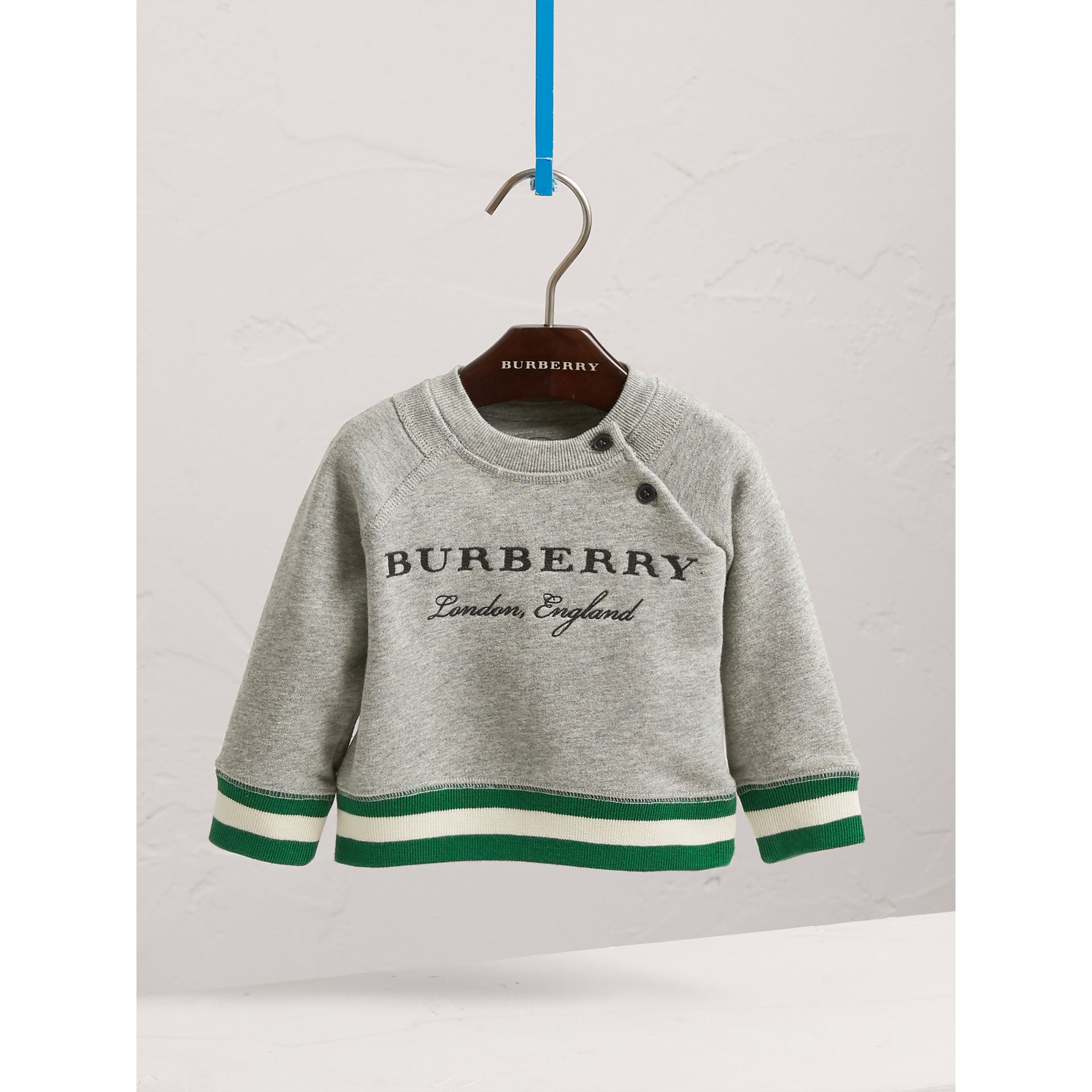Contrast Stripe Embroidered Cotton Sweatshirt in Grey Melange | Burberry Australia - gallery image 3